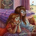 Girls Staring At Tv by Isabella Kung
