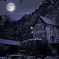 Glade Creek Grist Mill At Night by Lj Lambert