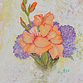 Gladioli And Hydrangea by Aileen McLeod