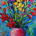 Gladioli In A Vase by Mona Edulesco