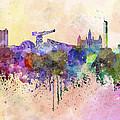 Glasgow Skyline In Watercolor Background by Pablo Romero