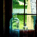 Glass Bottles On Windowsill by Susan Savad