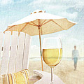Glass Of  Wine On Adirondack Chair At The Beach by Sandra Cunningham