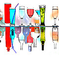 Glasses Reflecting Bottles by Malcolm Bumstead