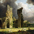 Glastonbury Abbey With The Tor by George Arnald