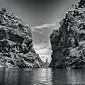 Glen Helen Gorge-outback Central Australia Black And White by Douglas Barnard
