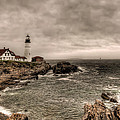 Gloomy Day At The Portland Head Light by At Lands End Photography