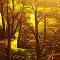 Glowing Evening Falls-original Sold- Buy Giclee Print Nr 28 Of Limited Edition Of 40 Prints   by Eddie Michael Beck