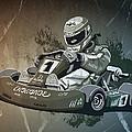 Go-kart Racing Grunge Monochrome by Frank Ramspott