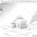God Sits In A Space Cloud Looking At The Earth by Christopher Weyant