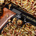 Gold 9mm Beretta With Brass Ammo by Jt PhotoDesign