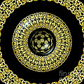 Gold And Black Stained Glass Kaleidoscope Under Glass by Rose Santuci-Sofranko