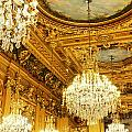 Gold Ceiling And Chandeliers by Sylvie Bouchard