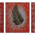 Gold Leaves On Orange Triptych by Barbara Griffin