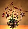 Gold Spirals Glass Flowers by Louis Ferreira
