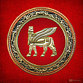 Golden Babylonian Winged Bull  by Serge Averbukh