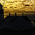 Golden Backlit West Quoddy Head Lighthouse by Marty Saccone