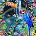 Golden Bluebirds Paradise Version 2 by Alixandra Mullins