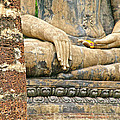 Golden Fingernails On Sitting Buddha At Wat Mahathat In Sukhothai Historical Park-thailand by Ruth Hager