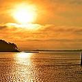 Golden Foggy Sunrise Colors On Santa Rosa Sound At Hurlburt Harbor by Jeff at JSJ Photography