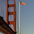Golden Gate And American Flag by Gej Jones