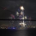 Golden Gate Bridge 75th Anniversary Fireworks With Bridge Silhouette by Scott Lenhart