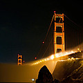 Golden Gate Bridge At Night In The Fog by Todd Aaron