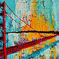 Golden Gate Bridge Modern Impressionistic Landscape Painting Palette Knife Work by Patricia Awapara