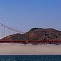 Golden Gate Bridge Over Fog Panorama by Chris Bordeleau