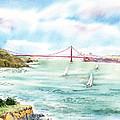 Golden Gate Bridge View From Point Bonita by Irina Sztukowski