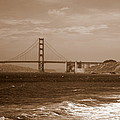 Golden Gate Bridge With Surf Sepia by Carol Groenen