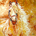 Golden Grace Equine Abstract by Marcia Baldwin