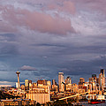 Golden Hour Reflected On Downtown Seattle And Space Needle - Seattle Washignton State by Silvio Ligutti