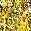 Golden Pecan Leaves Abstract by Debbie Portwood