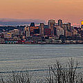 Golden Seattle Skyline Sunset by Mike Reid
