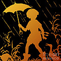 Golden Silhouette Of Child And Geese Walking In The Rain by Rose Santuci-Sofranko