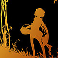 Golden Silhouette Of Child With Basket Walking In The Woods by Rose Santuci-Sofranko