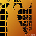 Golden Silhouette Of Couple Embracing by Rose Santuci-Sofranko
