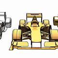 Golden Silver Bronze Race Car Color Sketch by Nenad Cerovic