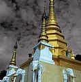 Golden Spires Of Burmese Buddhist Temple by James Brunker