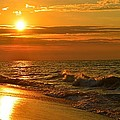 Golden Sunrise Colors With Waves And Horizon Clouds On Navarre Beach by Jeff at JSJ Photography