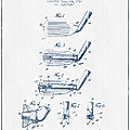 Golf Club Patent Drawing From 1917 - Blue Ink by Aged Pixel