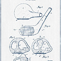 Golf Club Patent Drawing From 1926 - Blue Ink by Aged Pixel