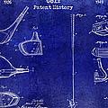 Golf Patent History Drawing Blue by Jon Neidert