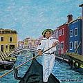 Gondolier At Venice Italy by Frank Hunter