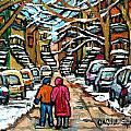 Good Day In January For Winter Stroll Snowy Trees And Cars Verdun Street Scene Painting Montreal Art by Carole Spandau