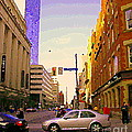 Good Morning Drive By Yonge St Starbucks Toronto City Scape Paintings Canadian Urban Art C Spandau  by Carole Spandau