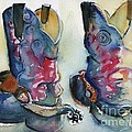 Cowboy Boots In Watercolor Good Ride by Maria's Watercolor