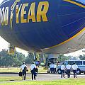 Goodyear Blimp Pilots And Crew by Jeff Lowe