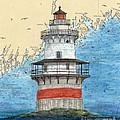 Goose Rocks Lighthouse Me Nautical Chart Peek Art by Cathy Peek